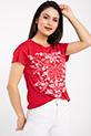 Cicek Desenli T-shirt / KIRMIZI