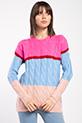 Sac Orgulu Renklı Trıko Kazak / FUSYA