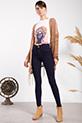 Yuksek Bel Ada Ceplı Kot Pantolon / KOYUMAVI