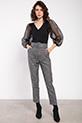Kalın Kemer Ceplı Desenlı Pantolon / FUME