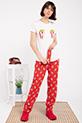 Popcorn Baskılı Pıjama Takımı / BEYAZ