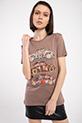 Vosvos Baskılı Varaklı T-shirt / KAHVERENGI