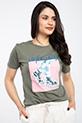 Baskılı Incili T-shirt / YESIL