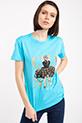 Cha Varak Baskılı Taslı T-shirt / TURKUAZ