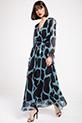 Kruvaze Yaka Puantiyeli Sifon Elbise / MAVI