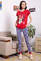 Mickey Baskılı Pijama Takımı / KIRMIZI