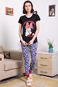 Mickey Baskılı Pijama Takımı / SIYAH