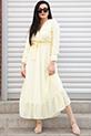 Puantiyeli Fırfırlı Sifon Elbise / SARI