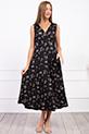 Kruvaze Yaka Cicek Desenli Sıfır Kol Elbise / SIYAH