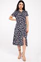 Gomlek Yaka Cicek Desenli Elbise / LACIVERT
