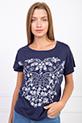 Cicek Desenli T-shirt / LACIVERT