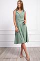 Klasik Yaka Kemerli Elbise / SUYESILI