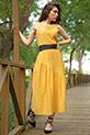 Sıfır Kol Yanı Yırtmaclı Elbise / HARDAL