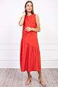 Sıfır Kol Yanı Yırtmaclı Elbise / KIRMIZI
