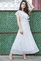 Kruvaze Yaka Cicek Desenli Sifon Elbise / EKRU