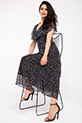 Kruvaze Yaka Cicek Desenli Sifon Elbise / SIYAH