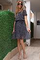 Cicek Desenli Kusaklı Elbise / SIYAH