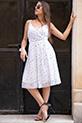 Ip Askılı Yıldız Desenli Sifon Elbise / BEYAZ