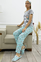 Bugs Bunny Baskılı Terlikli Pijama Takımı / GRI