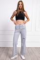 Bel Lastikli Diz Yırtıklı Pantolon / GRI