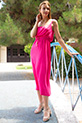 Askılı Bel Lastikli Penye Elbise / FUSYA