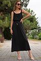 Askılı Bel Lastikli Penye Elbise / SIYAH