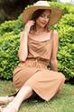 Askılı Bel Lastikli Penye Elbise / TABA