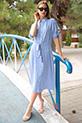 Gömlek Yaka Cizgili Kusaklı Elbise / MAVI