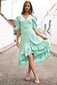 Cicek Desenli Kemerli Elbise / YESIL