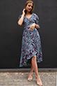 Cicek Desenli Kemerli Elbise / SIYAH