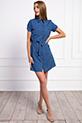 Gömlek Yaka Dügmeli Kusaklı Elbise / INDIGO