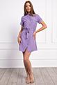 Gömlek Yaka Dügmeli Kusaklı Elbise / LILA