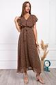 Kruvaze Yaka Kusaklı Cicek Desenli Sifon Elbise / KAHVERENGI