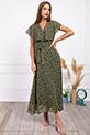 Kruvaze Yaka Kusaklı Cicek Desenli Sifon Elbise / HAKI