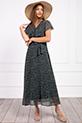 Kruvaze Yaka Kusaklı Cicek Desenli Sifon Elbise / YESIL