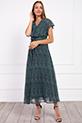 Kruvaze Yaka Kusaklı Desenli Sifon Elbise / YESIL