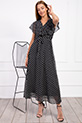 Kruvaze Yaka Kusaklı Puantiyeli Sifon Elbise / SIYAH