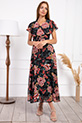 Kruvaze Yaka Kusaklı Cicek Desenli Sifon Elbise / SIYAH