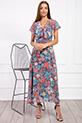 Kruvaze Yaka Kusaklı Cicek Desenli Sifon Elbise / MAVI