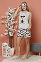 Cicekli Mickey Baskılı Sortlu Pijama Takımı / GRI