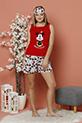 Cicekli Mickey Baskılı Sortlu Pijama Takımı / KIRMIZI