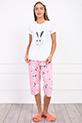 Sweet Robbit Baskılı Sortlu Pijama Takımı / BEYAZPEMBE