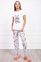 Tavsan Baskılı Pijama Takımı / BEYAZ