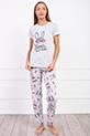 Tavsan Baskılı Pijama Takımı / GRI